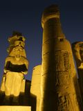 Illuminated detail of the Luxor Temple Stock Photo