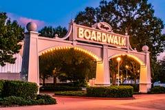 Illuminated Disney Boardwalk arch at Lake Buena Vista area 39