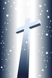 Illuminated divine cross with stars Stock Image