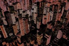 Illuminated downtown area of city stock illustration