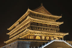 Illuminated Drum Tower at ancient city wall by night time, Xian, Shanxi Province, China Royalty Free Stock Photography