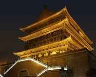 Illuminated Drum Tower in Xian Royalty Free Stock Photo