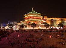 Illuminated drum tower in Xian, China at night royalty free stock image