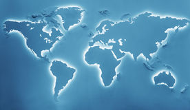 Illuminated earth map. Toned in blue. Continents shapes with cool white backlight Stock Photography