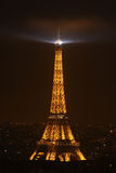 Illuminated Eiffel at night with black sky Stock Photography