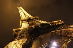 Illuminated Eiffel tower at night Stock Image