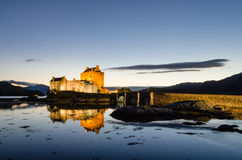 Illuminated Eilean Donan castle Royalty Free Stock Image