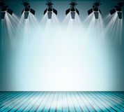 Illuminated empty concert stage. Illuminated empty blue concert stage with soffits. 3D illustration Stock Photo