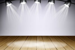 Illuminated empty concert stage with rays of light Royalty Free Stock Photography