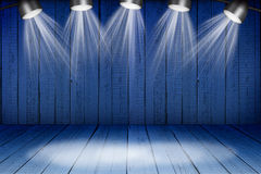 Illuminated empty concert stage with soffits. Illuminated empty blue concert stage with soffits Royalty Free Stock Photo
