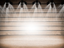 Illuminated empty concert stage. With white light. 3D illustration Stock Image