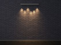 Illuminated empty dark brick wall. 3D illustrating. Royalty Free Stock Photos