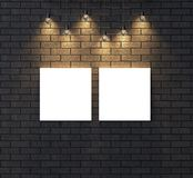 Illuminated empty frame mock up on dark brick wall. 3D illustrat Royalty Free Stock Images