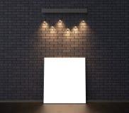 Illuminated empty frame mock up on dark brick wall. 3D illustrat Stock Photo