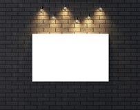 Illuminated empty frame mock up on dark brick wall. 3D illustrat Royalty Free Stock Photography