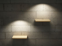 Illuminated empty shelves Royalty Free Stock Photos