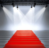 Illuminated empty stage podium Royalty Free Stock Image