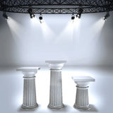 Illuminated empty stage podiums for award ceremony Stock Image