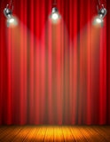 Illuminated Empty Stage With Red Curtain. Of glowing material wooden floor hanging floodlight vector illustration Royalty Free Stock Image