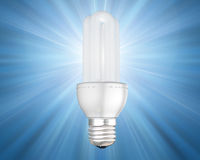 Illuminated energy saving light bulb Stock Photography