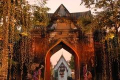 Illuminated Entrance to Royal Palace, Lopburi Royalty Free Stock Images