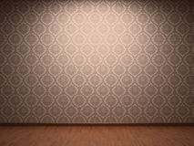Illuminated fabric wallpaper. In new room Royalty Free Stock Images