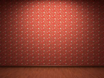 Illuminated fabric wallpaper. In new room Royalty Free Stock Image