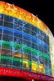 Illuminated facade of modern building Stock Photo