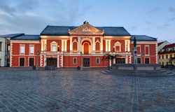 Illuminated facade of the Theater House. Theatre square, Klaipeda. Lithuania Stock Photos