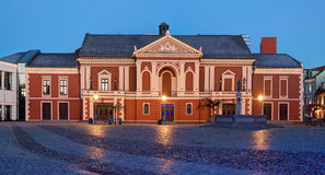 Illuminated facade of the Theater House. Theatre square, Klaipeda. Lithuania Royalty Free Stock Photography