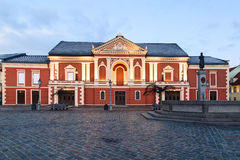 Illuminated facade of the Theater House. Theatre square, Klaipeda. Lithuania Royalty Free Stock Photos