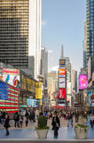 Illuminated facades of Broadway stores and theaters Stock Image