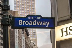 Illuminated facades of Broadway stores and theaters Royalty Free Stock Images