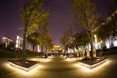 Illuminated famous ancient Bell Tower at night. China, Xian Stock Photo