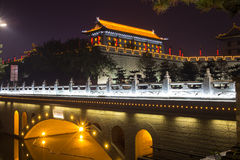Illuminated famous ancient Bell Tower at night. China, Xian Stock Photo