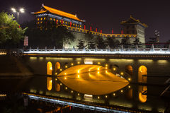 Illuminated famous ancient Bell Tower at night. China, Xian Stock Photography