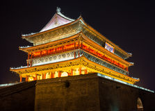 Illuminated famous ancient Bell Tower at night. China, Xian Royalty Free Stock Photos