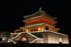 Illuminated famous ancient Bell Tower at night, Xian, China. Stock Photo