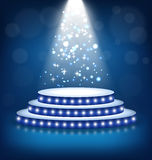 Illuminated Festive Stage Podium with Lamps on Blue Royalty Free Stock Photography