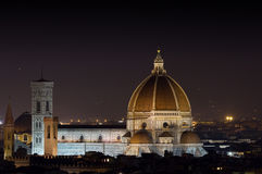 Illuminated Florence cathedral at night Royalty Free Stock Photos