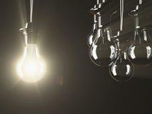 Illuminated fluorescent light bulb Royalty Free Stock Photography