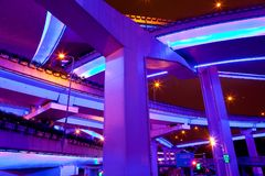 Illuminated flyovers, Shanghai, China. Illuminated flyovers in Shanghai, China stock photography