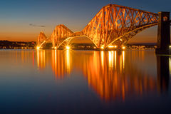The illuminated Forth rail bridge Royalty Free Stock Images