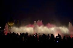 Illuminated fountain in Barcelona, fontana magica Royalty Free Stock Photography