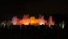 Illuminated fountain in Barcelona, fontana magica Stock Photos
