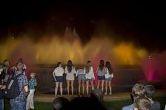 Illuminated fountain in Barcelona, fontana magica Stock Photo