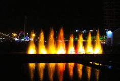 Illuminated fountain in Batumi resort, Georgia Stock Photography
