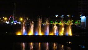 Illuminated fountain in Batumi resort, Georgia Royalty Free Stock Image