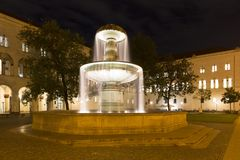 Illuminated fountain in Munich, Germany Stock Image