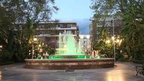 Illuminated fountain in Marbella, Spain stock footage